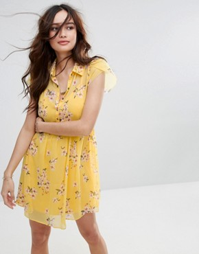 photo Floral Print Tea Dress by Abercrombie & Fitch, color Yellow - Image 1