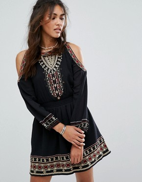 photo Cold Shoulder Embroidered Dress by Abercrombie & Fitch, color Black Red - Image 1