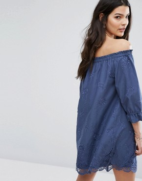 photo Off Shoulder Embroidered Dress by Abercrombie & Fitch, color Vintage Indigo - Image 2