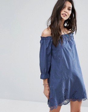 photo Off Shoulder Embroidered Dress by Abercrombie & Fitch, color Vintage Indigo - Image 1