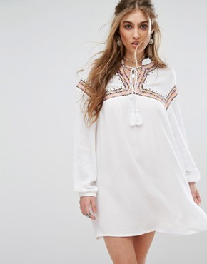 photo Embroidered Tie Front Smock Dress by Missguided, color White - Image 1