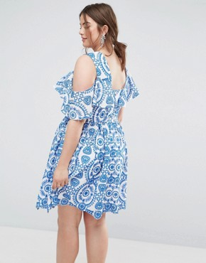 photo Sleeveless Broderie Skater Dress with Ruffle and Open Back by ASOS CURVE PREMIUM, color Multi - Image 2