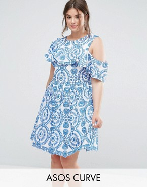 photo Sleeveless Broderie Skater Dress with Ruffle and Open Back by ASOS CURVE PREMIUM, color Multi - Image 1