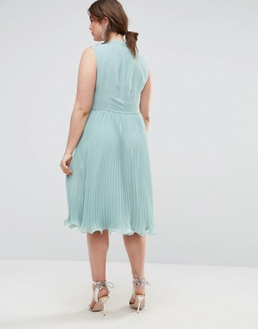 photo Sleeveless Lace Insert Midi Dress by ASOS CURVE, color Green - Image 2