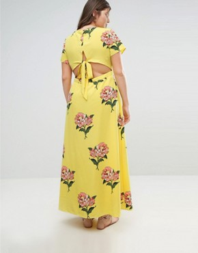 photo Maxi Tea Dress with Open Back in Floral Print by ASOS CURVE, color Multi - Image 2