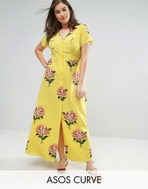 photo Maxi Tea Dress with Open Back in Floral Print by ASOS CURVE, color Multi - Image 1