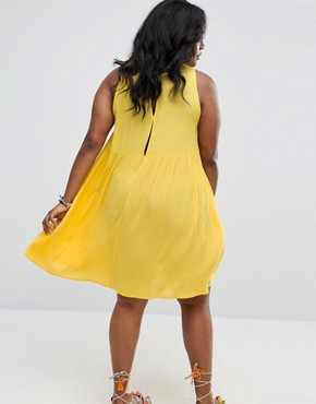photo Swing Sundress with Neck Tie & Open Back by ASOS CURVE, color Yellow - Image 2