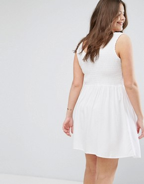 photo Shirred Sundress with Eyelet Detail by ASOS CURVE, color White - Image 2