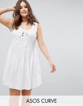 photo Shirred Sundress with Eyelet Detail by ASOS CURVE, color White - Image 1