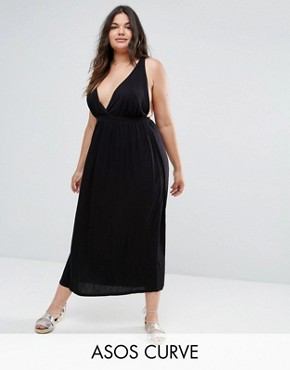 photo Halter Maxi Dress by ASOS CURVE, color Black - Image 1