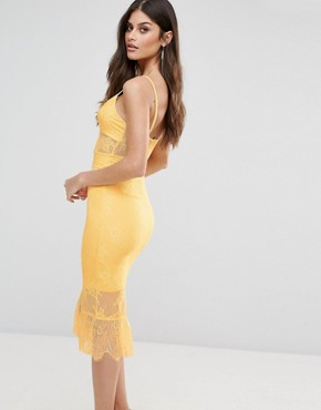 photo Corset Detail Midi Dress in Lace with Pephem by NaaNaa, color Lemon - Image 2