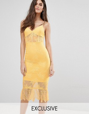 photo Corset Detail Midi Dress in Lace with Pephem by NaaNaa, color Lemon - Image 1