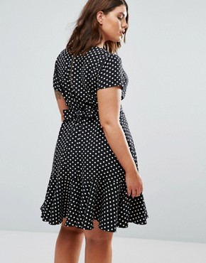 photo Spot Dress with Peplum Hem by Closet London Plus, color Navy - Image 2