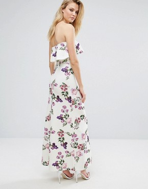 photo Bandeau Frill Maxi Dress in Floral Print by Oh My Love Tall, color Rose Garden Print - Image 2