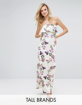 photo Bandeau Frill Maxi Dress in Floral Print by Oh My Love Tall, color Rose Garden Print - Image 1