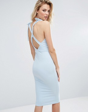photo Wrap Midi Dress with Strap Back by Oh My Love Tall, color Dusky Blue - Image 2
