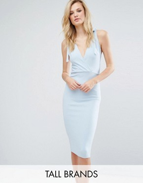 photo Wrap Midi Dress with Strap Back by Oh My Love Tall, color Dusky Blue - Image 1