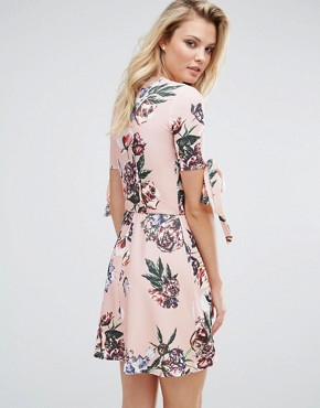 photo Plunge Tea Dress with Tie Sleeves in Floral Print by Oh My Love Tall, color Pink Vintage Floral - Image 2