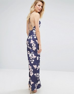 photo Maxi Dress with Open Back in Floral Print by Oh My Love Tall, color Rose Bouquet Print - Image 2