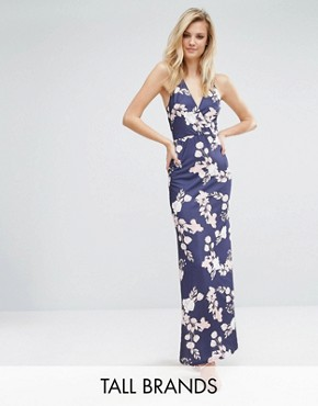 photo Maxi Dress with Open Back in Floral Print by Oh My Love Tall, color Rose Bouquet Print - Image 1