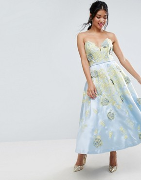photo Contrast Embroidered Floral Prom Midi Dress by ASOS SALON, color Multi - Image 1