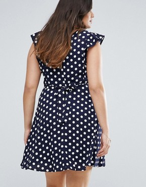 photo Tea Dress in Polka Dot Print with Ruffle Detail by Yumi Plus, color Navy - Image 2