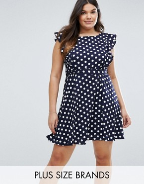 photo Tea Dress in Polka Dot Print with Ruffle Detail by Yumi Plus, color Navy - Image 1