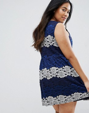 photo Lace Dress by Yumi Plus, color Navy - Image 2