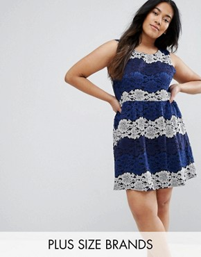 photo Lace Dress by Yumi Plus, color Navy - Image 1