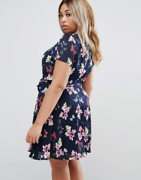 photo Skater Dress in Butterfly Print by Yumi Plus, color Blue - Image 2
