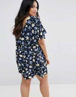 photo Cape Dress in Floral Print by Yumi Plus, color Navy - Image 2