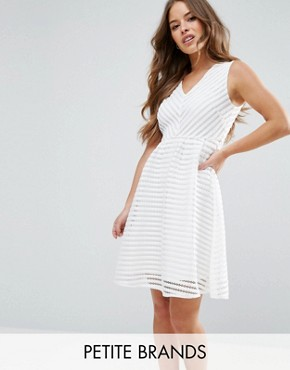 photo Textured Scuba Dress by Yumi Petite, color Cream - Image 1