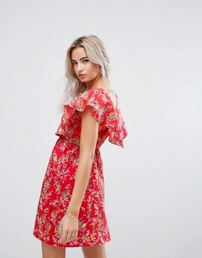 photo Cape Dress in Floral Print by Yumi Petite, color Red - Image 2