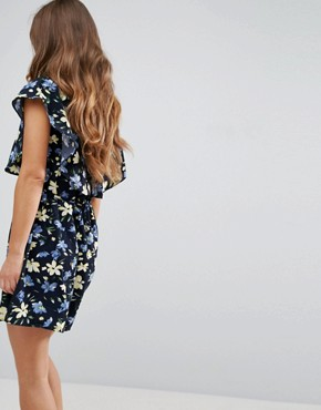 photo Cape Dress in Floral Print by Yumi Petite, color Navy - Image 2