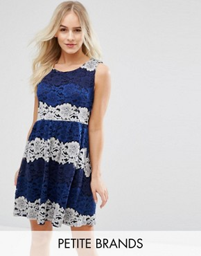 photo Lace Dress by Yumi Petite, color Navy - Image 1