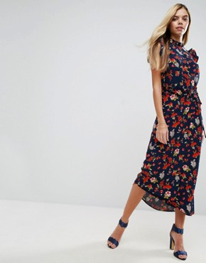 photo Maxi Tea Dress with Cut Out Back Detail in Grunge Floral Print by ASOS, color Multi - Image 2