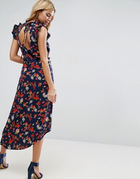 photo Maxi Tea Dress with Cut Out Back Detail in Grunge Floral Print by ASOS, color Multi - Image 1