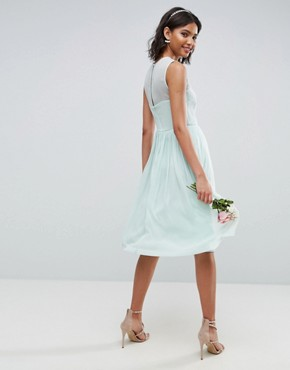 photo Midi Dress with Ruched Panel Detail by ASOS WEDDING, color Soft Green - Image 2