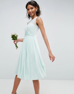photo Midi Dress with Ruched Panel Detail by ASOS WEDDING, color Soft Green - Image 1