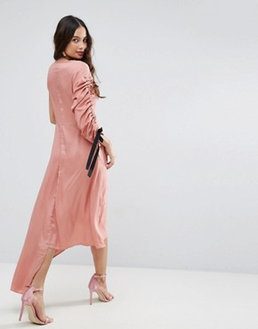 photo One Shoulder Maxi Dress by ASOS, color Pink - Image 2