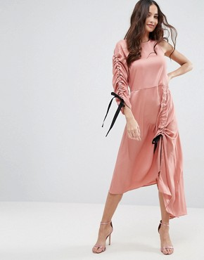 photo One Shoulder Maxi Dress by ASOS, color Pink - Image 1
