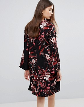 photo Demi Printed Mini Dress with Bell Sleeve by Gestuz, color Black - Image 2