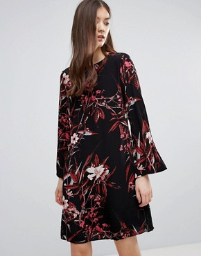 photo Demi Printed Mini Dress with Bell Sleeve by Gestuz, color Black - Image 1