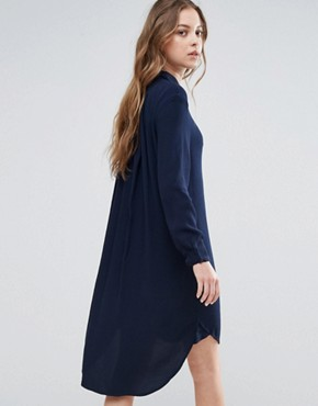 photo Clean Shirt Dress by Selected, color Navy - Image 2