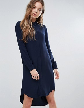 photo Clean Shirt Dress by Selected, color Navy - Image 1