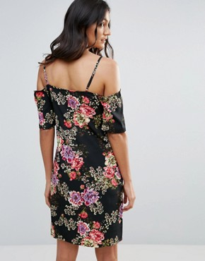 photo Floral Cold Shoulder Dress with Lace Neckline by Daisy Street, color Black Floral - Image 2