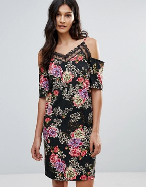 photo Floral Cold Shoulder Dress with Lace Neckline by Daisy Street, color Black Floral - Image 1
