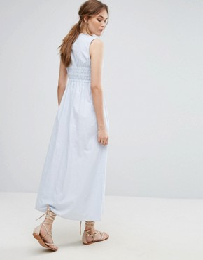 photo Striped Maxi Dress by Moon River, color Light Blue - Image 2