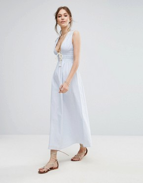 photo Striped Maxi Dress by Moon River, color Light Blue - Image 1