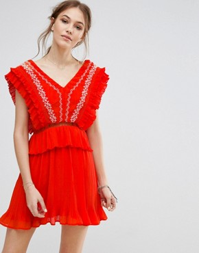 photo Embroidered Dress by Moon River, color Red - Image 1